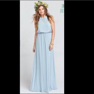 Heather Halter Dress ~ Steel Blue Chiffon  Medium